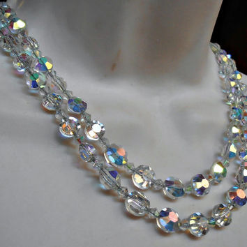 Hobe Crystal Necklace, 2 Strand Chain Strung, Faceted Aurora Borealis, Vintage 1960s