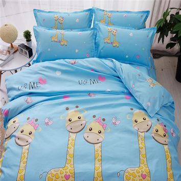 Cool Blue and yellow bedding set Twin full king queen size Kids polyester Christmas animal print Giraffe bed sheet quilt duvet coversAT_93_12