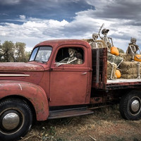 Ghost riders Halloween truck skeletons pumpkins 4 Sizes Home Decoration Canvas Poster Print