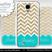 Sparkle Gold Aqua Teal Monogram Galaxy S4 case Galaxy S5 Case Note 2 3 S3 Cover Not Actual Glitter White Chevron Zig Zag Personalized Name