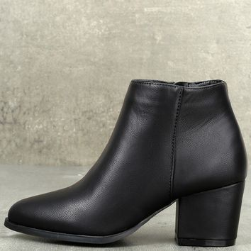 Lorna Black Pointed Toe Ankle Booties