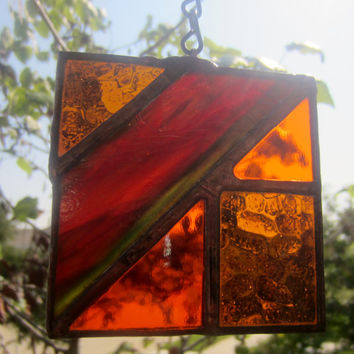 Stained Glass Suncatcher Abstract Square Amber Free Shipping