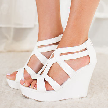 Spring Showers Wedges in White CLEARANCE