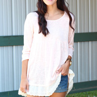 Laced Around Back Zip Top {Blush}