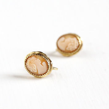 Vintage Carved Shell Cameo Screw Back Earrings - Mid Century 12k Gold Filled 1940s 1950s Clip On Woman Silhouette Jewelry