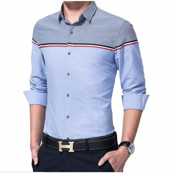 Mens Two Tone Button Down Shirt Blue