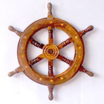 Marine Ship Wheel with Wooden Centre -Woodland Imports