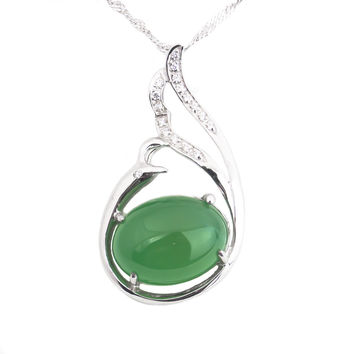 Oval Green jadeite jade silver necklace