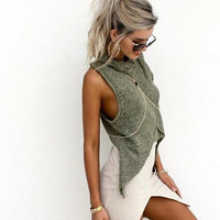 Beach Dovetail High Necked T-Shirt