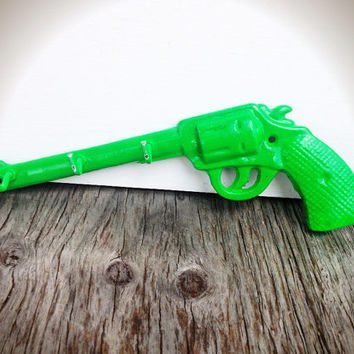 BOLD fluorescent lime green painted pistol hook // jewelry hanger storage key hook // modern western cowgirl cowboy // modern men's
