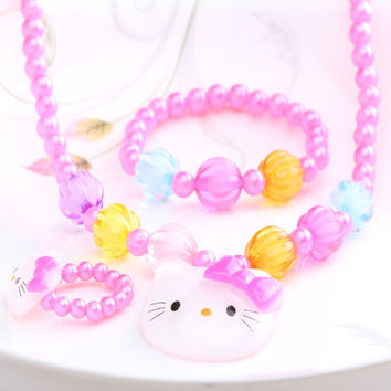 1Set=3Pcs New Three Hair Jewelry Sets Girls Necklace Bracelet Rings Kid Jewelry With Colorful Beads Sweet Candy Hair Accessories