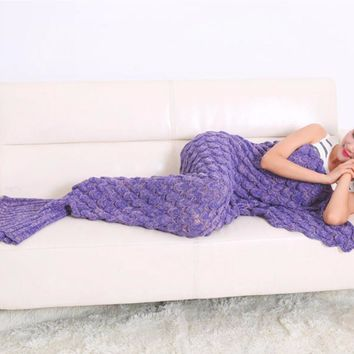 Mermaid Tail Blanket Yarn Knitted Handmade Crochet Warm Adult Mermaid Blanket Throw Wrap Bed Sofa Sleeping Bed Sleep Bottoms New