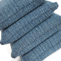 Bean Bags Upcycled Blue Denim 3.5 Inches Square Homeschool Child's Toy (set of 4) - US Shipping Included