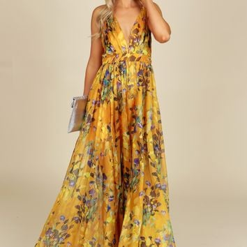 Vibrant Floral Maxi Dress Yellow