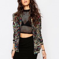 Jaded London Festival Sequin Bomber Jacket