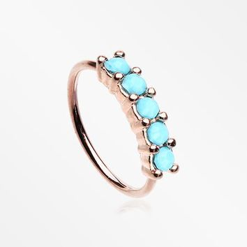 Rose Gold Turquoise Multi Beads Princess Prong Bendable Hoop Ring