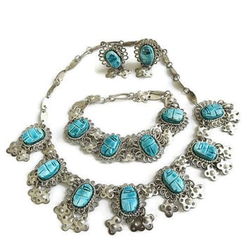 Egyptian Revival Necklace Bracelet & Earrings Set Faience Scarab and Bib Collar Vintage