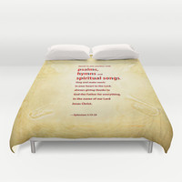 Psalms, Hymns and Spiritual Songs Duvet Cover by Peter Gross