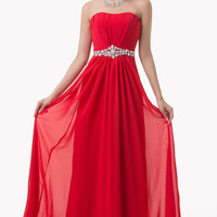 Grace Karin  Strapless Chiffon A-Line Red Bridesmaid Formal Dresses Crystal Pleated Long Ball Gown Evening Prom Party Dress CL6229
