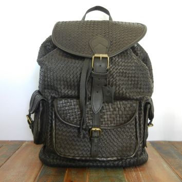 Black Woven Leather Backpack