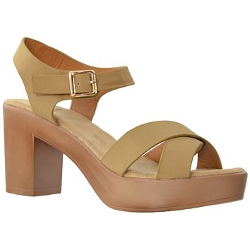 Womens Platform Sandals Open Toe Crisscross Strap Chunky Block Heel Shoes Taupe