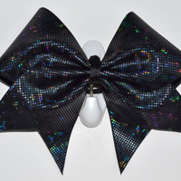 3 Wide Luxury Cheer Bow    Black Metallic by BowsWithAttitude