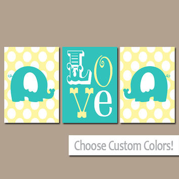 Yellow Elephant Wall Art Nursery Canvas Artwork Turquoise Boy Girl Child Twins LOVE Polka Dots Custom Colors Set of 3 Prints Three