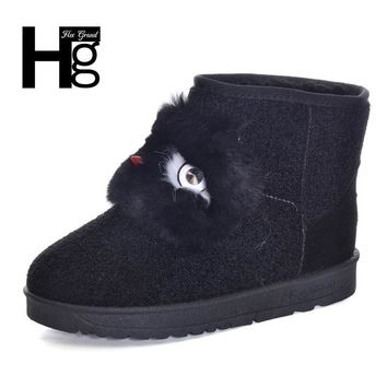 HEE GRAND 2017 Winter Snow Boots Black Cute Animal Pattern Faus Fur Plush Warm Thick P
