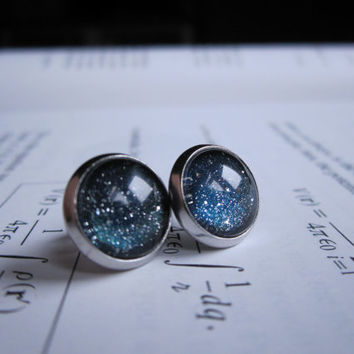 Constellation - Earring studs - science jewelry - science earrings - galaxy jewelry - physics earrings - fake plugs - plug earrings - nebula