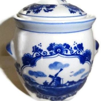 Delft Marne's Mustard Jar Delftware Windmill Holland