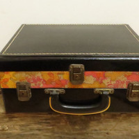 Vintage Sewing Case Make-up Suitcase Black Patent Orange Floral Three Compartments Mid-Century