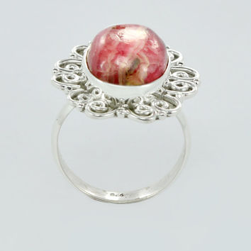 925 Sterling Silver Ring Rhodonite Gemstone Silver Ring