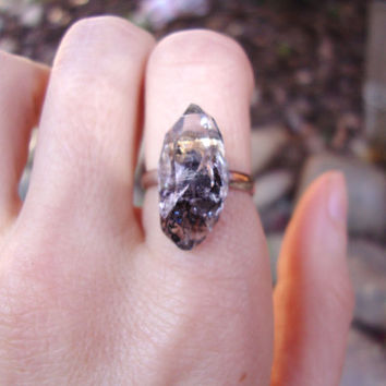 RAW chunky grade A Herkimer diamond crystal point Metaphysical adjustable cocktail ring