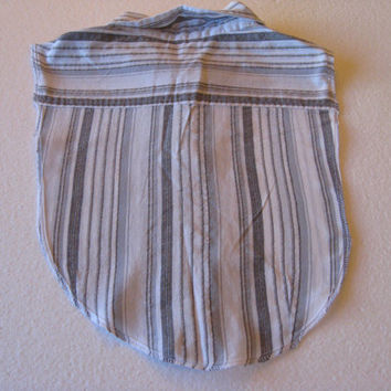 Gray, White And Metalic Striped Cotton Blend Upcycled Dickie