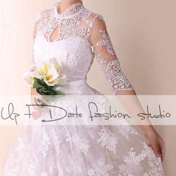 Plus Size Lace short wedding party/reception dress / knee length/ Bridal Gown/Royal elegans top
