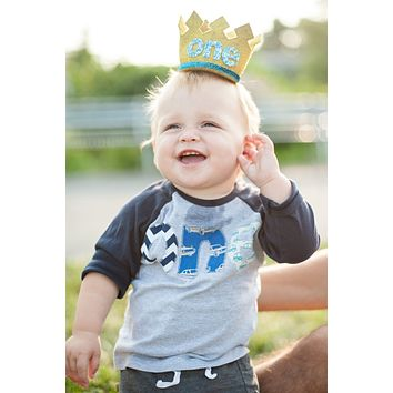 Fan Photo Boys 1st- Raglan Biggie Birthday Number on Birthday Shirt- chevron, cars in navy, royal and aqua