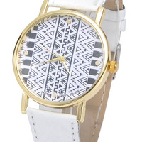 White Geometric Print Trendy Watch