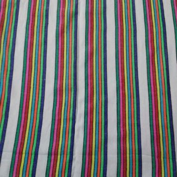 Striped Mexican fabric by the yard, White FABRIC02