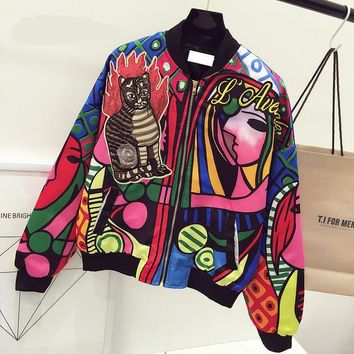 Queen Embroidered Cat Bomber Jacket Women Harajuku Cat Pilot Jacket