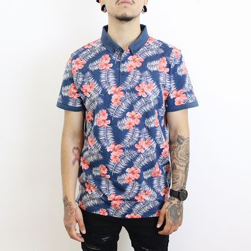 Matt Floral Collar Shirt (Navy/Pink)