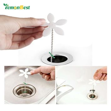 2pcs 41cm  Flower Sewer Drain Hair Cleaning Hook Chain Catcher Sink Cleaning Tool for Bathroom Floor Shower Sewer Anti Bathroom