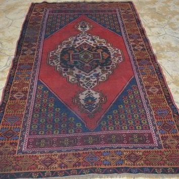 Antique Kilim Design Hand Knotted Rug, Small Anatolian Rug, Kitchen Rug,  4.2 x 7  Feet AG986