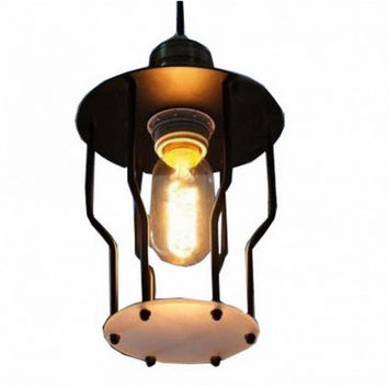 Loft countryside vintage industrial black wire and frosted glass edison pendant lamp light