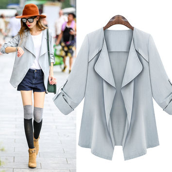 Casual Slim Roll-up Sleeve Windbreaker Coat