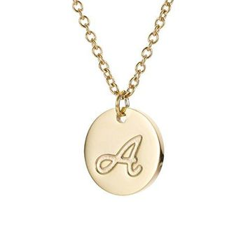 """AUGUAU HUAN XUN Initial Necklace Best Friend Necklaces for Girls Stainless Steel, 18"""""""