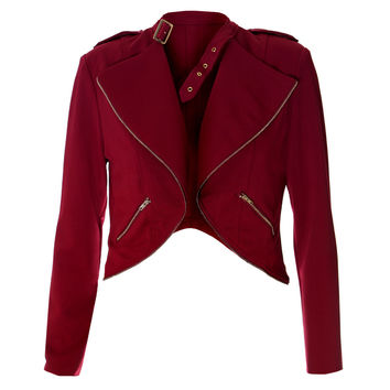 Cropped Clasp Neck Jacket, Red