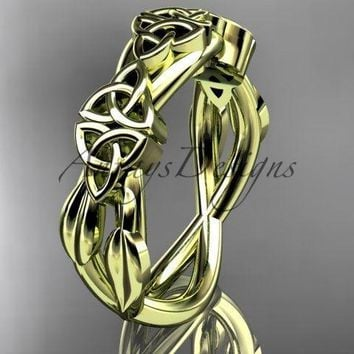 14kt yellow gold celtic trinity knot wedding band, engagement ring CT7204G