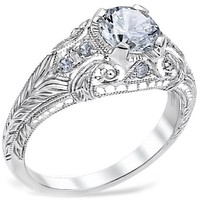 "Whitehouse Brothers ""Romanesque Arcade"" Vintage Style Diamond Engagement Ring"