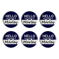 Marley Hello My Name Is Plastic Resin Button Set of 6