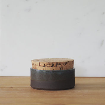 brown corked cellar. small modern jar. brown stoneware clay with transparent blue glaze.  READY MADE